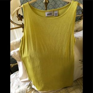 Chico's traveler chartreuse color sleeveless top.